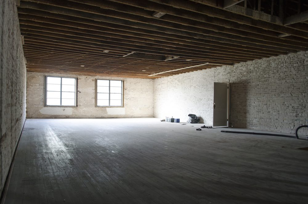 Future conference room, kitchen and office.