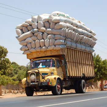 Severely overloaded truck