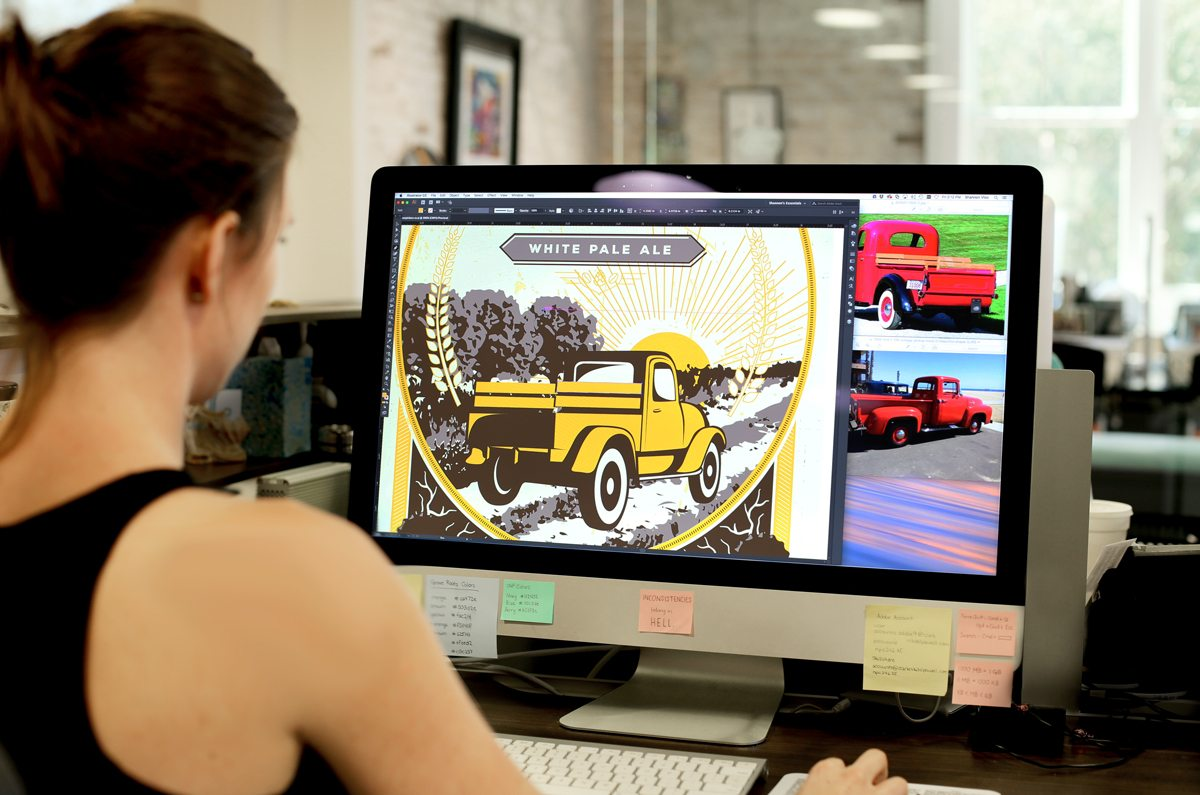 Shannon vectorizes a custom illustration